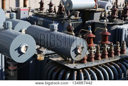 Large Electric Voltage Transformers In The Landfill For Special Toxic Waste
