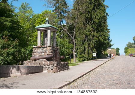 LAPPEENRANTA, FINLAND - JUNE 15, 2016: Log Monument. Monument of the battle of Villmanstrand (Lappeenranta) 1741 on Kristiinankatu near Old park