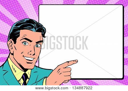 Beautiful retro businessman announces pop art retro vector