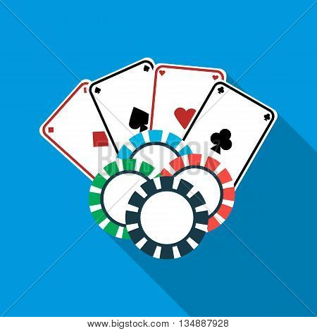 Poker cards and casino chips icon in flat style with long shadow