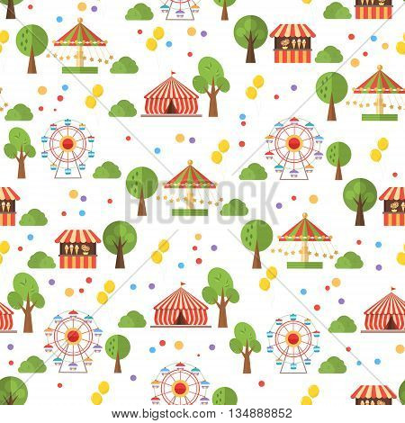 Travelling carnival amusement park show fair seamless festive pattern . Vector background .