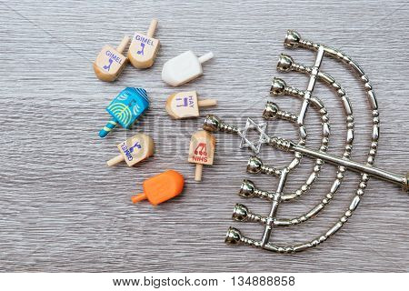 Menorah On Wooden Table. Hanukkah Symbol.