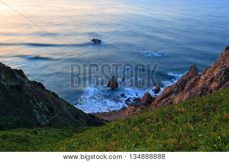Cliffs Cabo da Roca at sunset Portugal