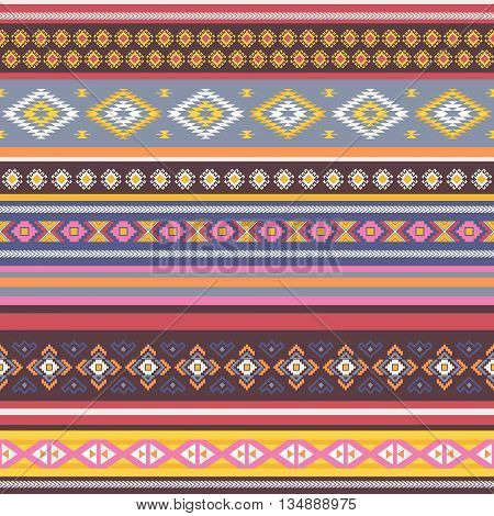 Ethnic seamless pattern with tribal aztec motives. Aztec pattern.Vector background .