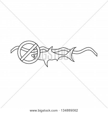 Ban swimming sharks icon in outline style isolated on white background. Warning symbol