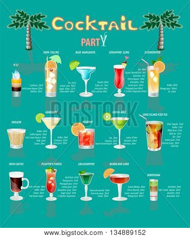 cocktail menu which consists of popular drinks.