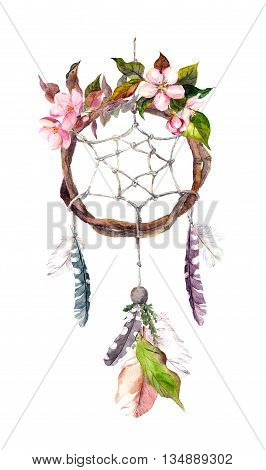 Dream catcher - dreamcatcher with feathers and flowers. Watercolor in vintage boho style