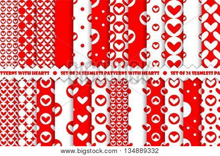 Set of red romantic geometric seamless pattern with hearts. Collection of wrapping paper.  Vector illustration. Background. Graphic texture.