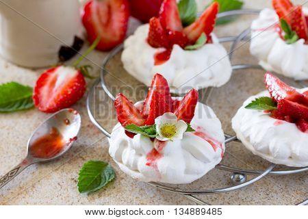 Pavlova Meringue Cake With Fresh Strawberries On Brown Stone Background