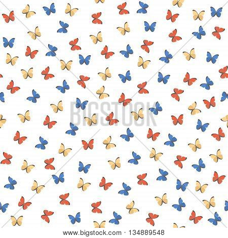 Seamless pattern with colorful butterfly . Vector background