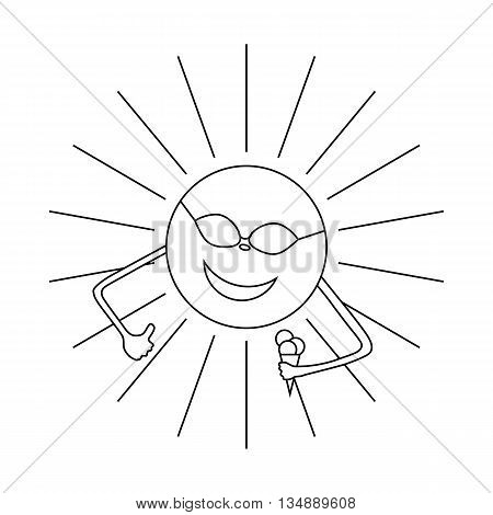 Sun with ice cream icon in outline style isolated on white background. Summer symbol