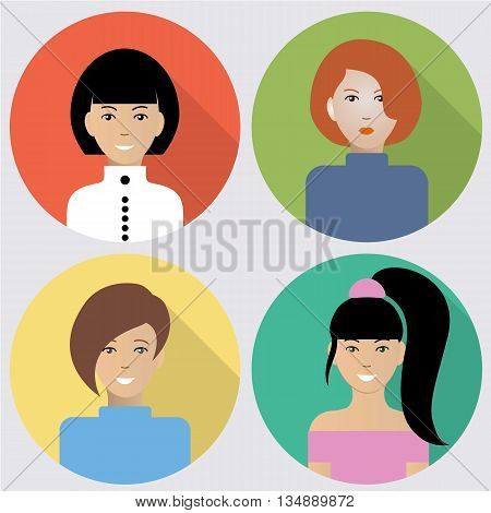 Set of flat women icons. Four different images of women. Can be used for the websites,forums and blogs