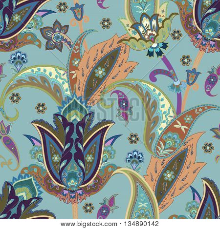 Fantasy flowers seamless paisley pattern. Floral ornament for fabric textile cards wrapping paper wallpaper template.