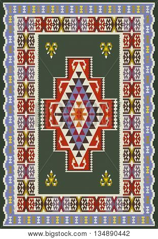 Vector ethnic background of colorful ornated carpet .