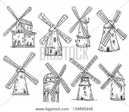 Windmills vector drawing EPS 10 format fully editable