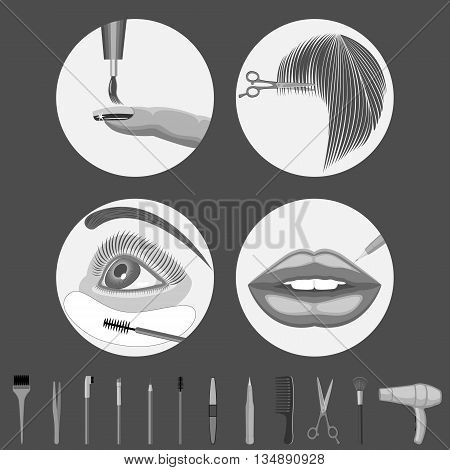 Beauty salon - manicure,haircut,makeup,permanent makeup.Set of vector backgrounds.