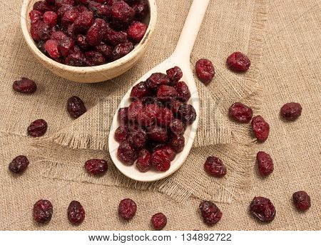 diet supplements - dried cranberries on canvas