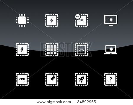 Computer CPU and microchip icons on black background. Vector illustration.