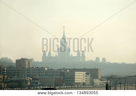 Moscow State University building far front view in early evening