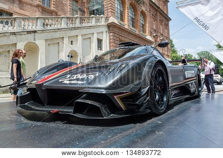 TURIN, ITALY - JUNE 13, 2015: Front view of a Pagani Zonda Revolucion on display at Turin open air car show