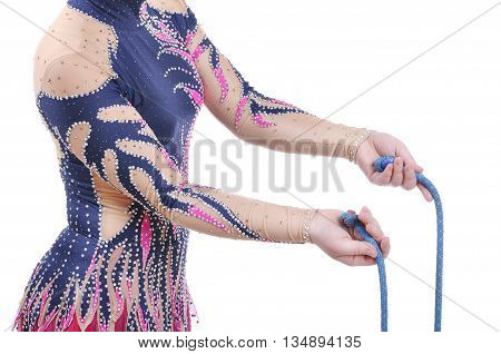 Close Up Of Artistic Female Gymnast Showing How To Hold A Rope