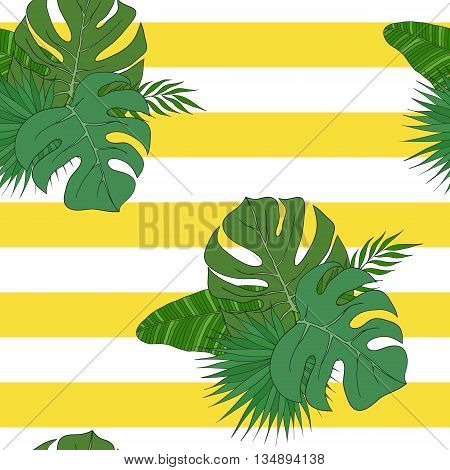 The leaves of tropical palm trees on the striped yellow-white background. Pattern.