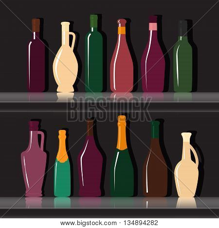Set of silhouettes of wine bottles on a black background . Vector flat illustration .