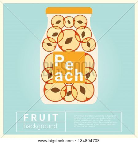 Infused water fruit recipe with peach, vector, illustration