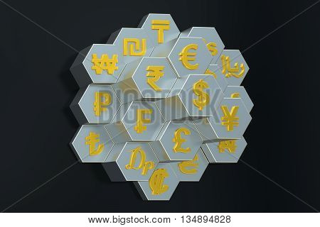 Currency concept 3D rendering isolated on black background