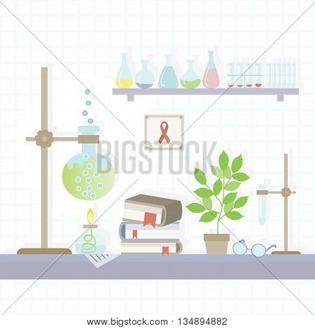 Illustration of the chemical laboratory in a flat style. Vector .