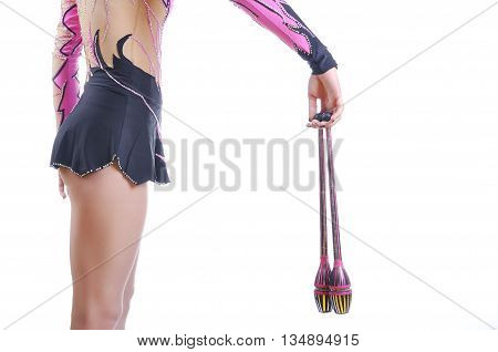 Close Up Of Artistic Female Gymnast Showing How To Hold A Gymnastic Mace