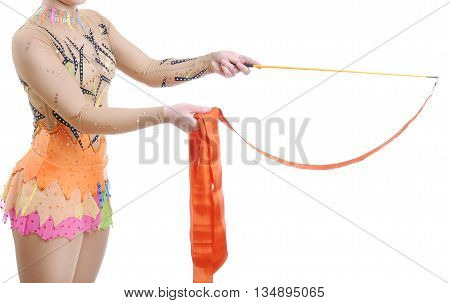 Close Up Of Artistic Female Gymnast Showing How To Hold A Ribbon