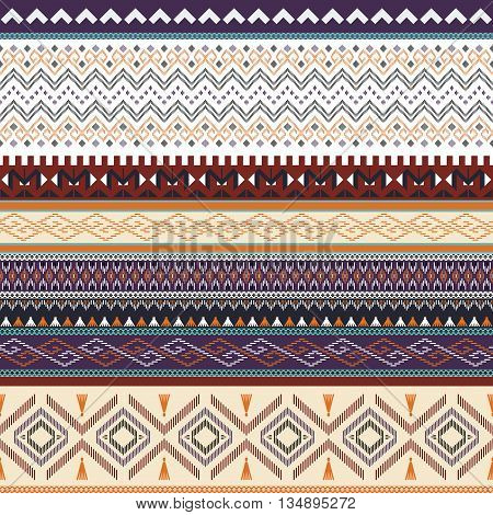 Ethnic striped ornated pattern . Tribal vector background .
