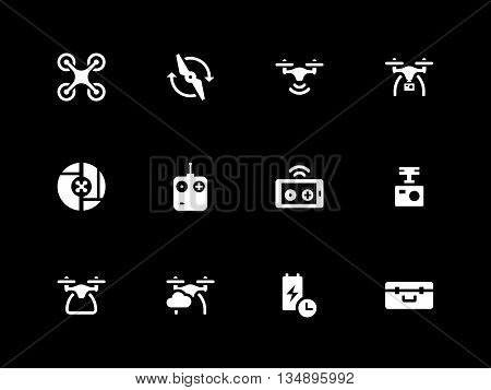 Drone and wireless remote control icons on black background. Vector illustration.