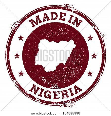 Nigeria Vector Seal. Vintage Country Map Stamp. Grunge Rubber Stamp With Made In Nigeria Text And Ma