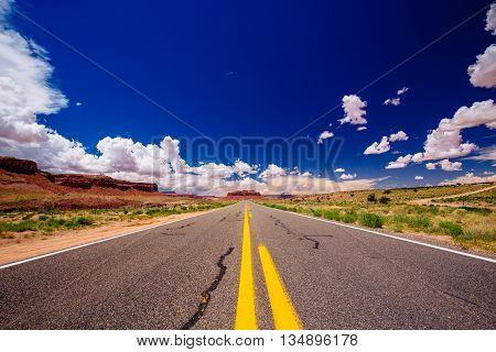 Highway 163, An Endless Road, Agathla Peak, Arizona, Usa