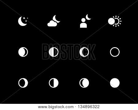 Moon phases icons on black background. Vector illustration.