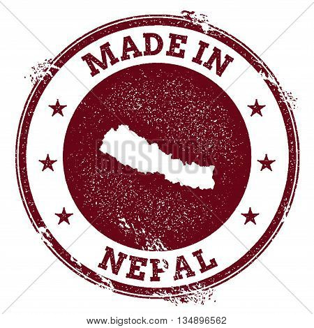 Nepal Vector Seal. Vintage Country Map Stamp. Grunge Rubber Stamp With Made In Nepal Text And Map, V