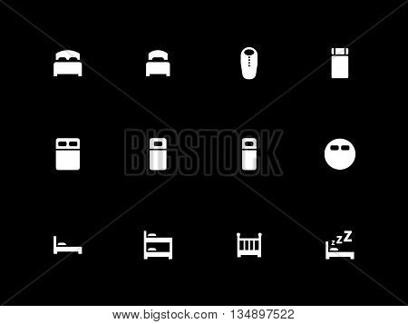 Bed icons on black background. Vector illustration.