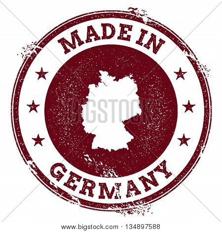 Germany Vector Seal. Vintage Country Map Stamp. Grunge Rubber Stamp With Made In Germany Text And Ma