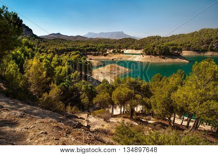 Sunny day at the lake side at El Chorro lake district Andalusia Spain