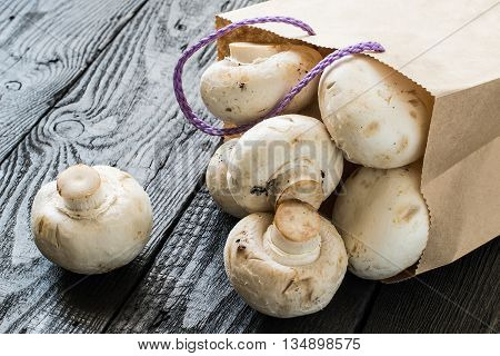 Fresh mushrooms in a paper bag. The source of protein minerals amino acids. Diet health or vegetarian food concept