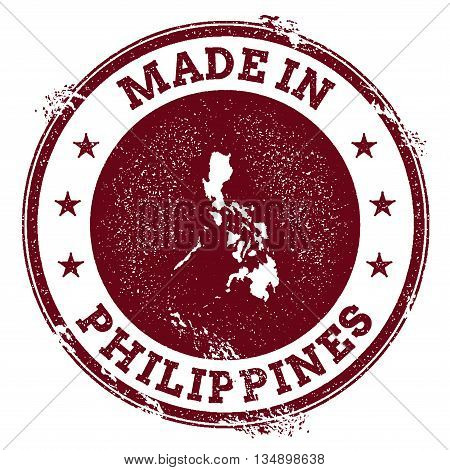 Philippines Vector Seal. Vintage Country Map Stamp. Grunge Rubber Stamp With Made In Philippines Tex