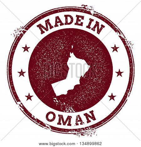Oman Vector Seal. Vintage Country Map Stamp. Grunge Rubber Stamp With Made In Oman Text And Map, Vec