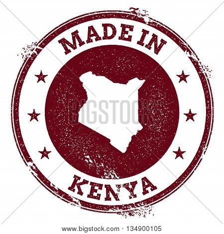 Kenya Vector Seal. Vintage Country Map Stamp. Grunge Rubber Stamp With Made In Kenya Text And Map, V