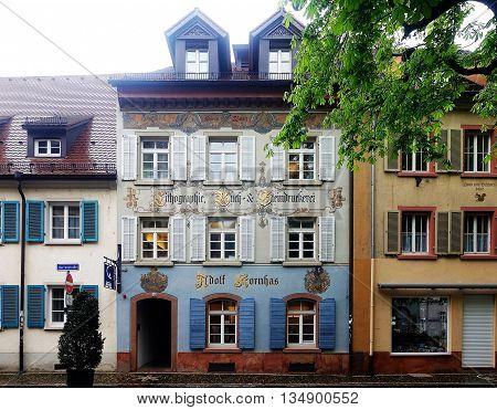 Freiburg im Breisgau, Germany, April 18, 2016: The historic building of a printing company in Freiburg im Breisgau, Germany.