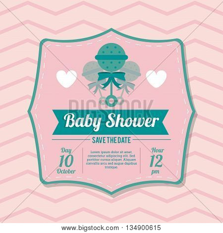Baby Shower represented by maraca design, decorated and pink background with text inside