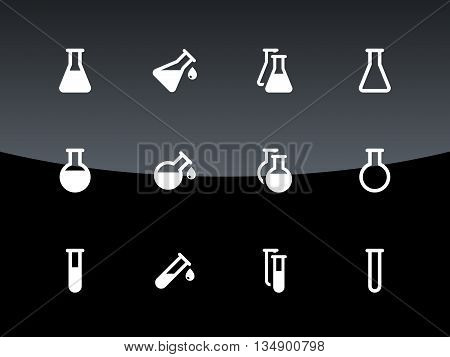 Flask and test tube icons on black background. Vector illustration.