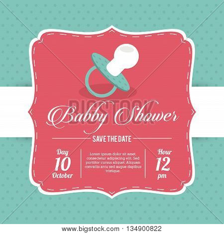 Baby Shower represented by pacifier design, decorated and blue background with text inside