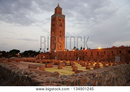 Minaret of Marrakech mosque, at sunset. Morocco